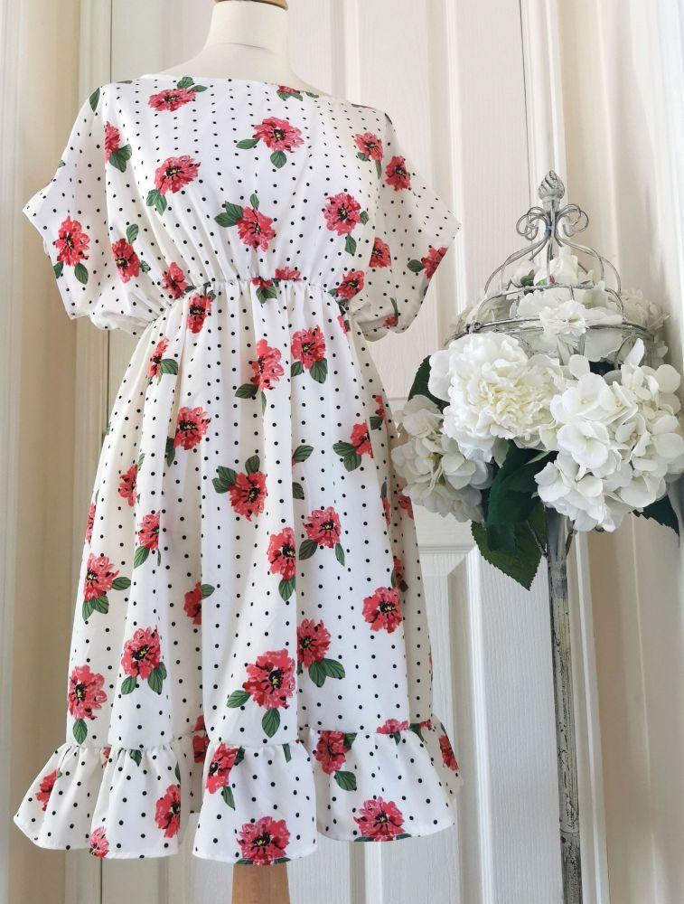 BABYDOLL DRESS - POLKA ROSE