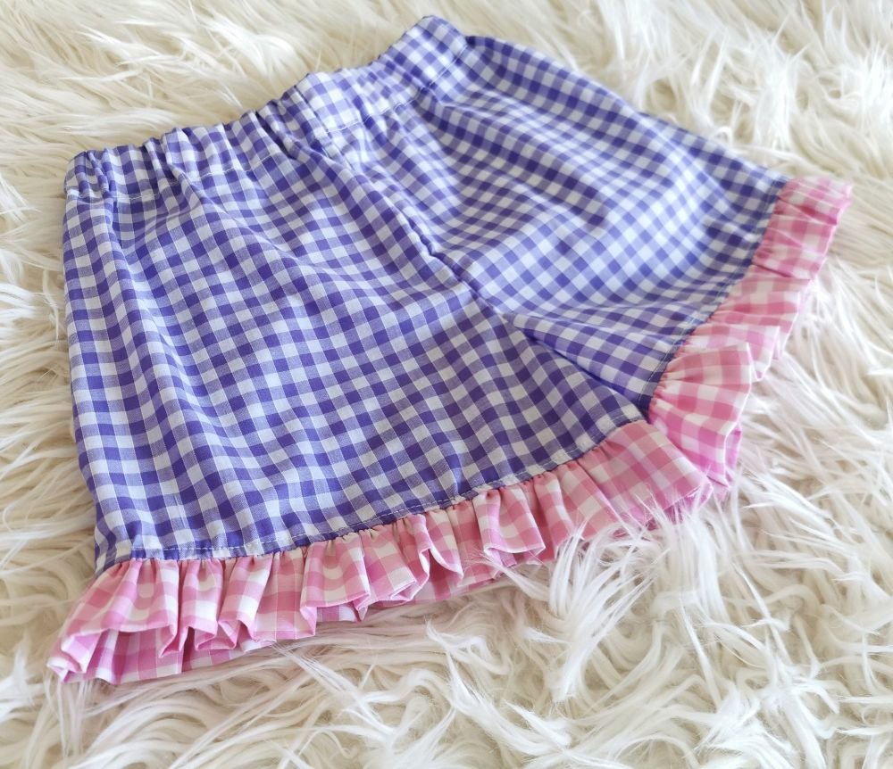 FRILL SHORTS - LILAC / PINK GINGHAM MIX