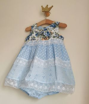 18/24MONTHS - BABY BLUE PANEL DRESS WITH BLOOMER PANTS