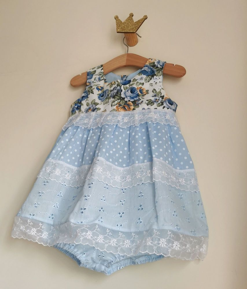 12/18MONTHS - BABY BLUE PANEL DRESS WITH BLOOMER PANTS