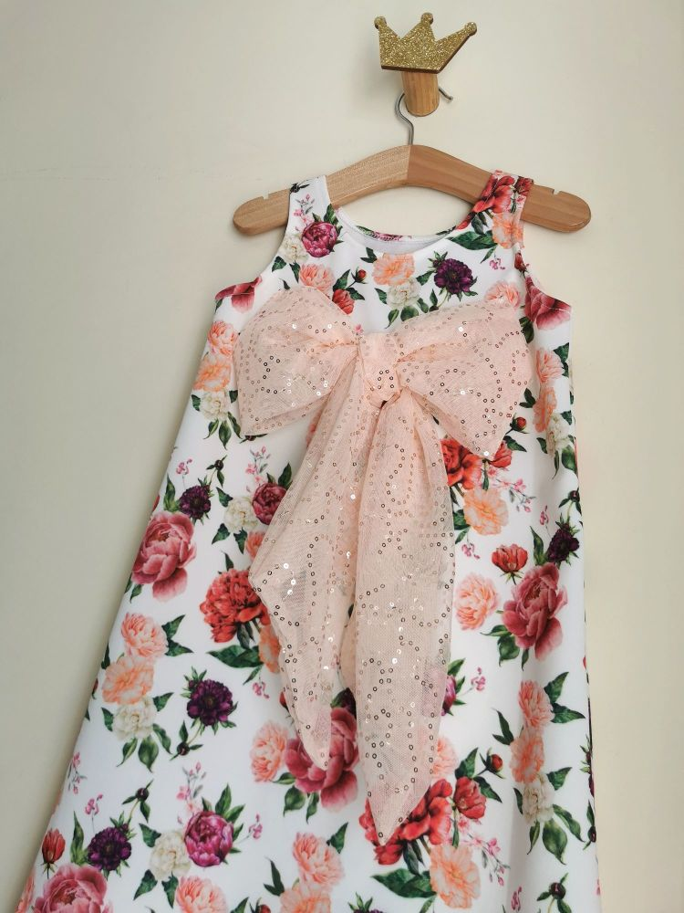 6/7YEARS - PINK FLORAL SEQUIN BOW VEST DRESS