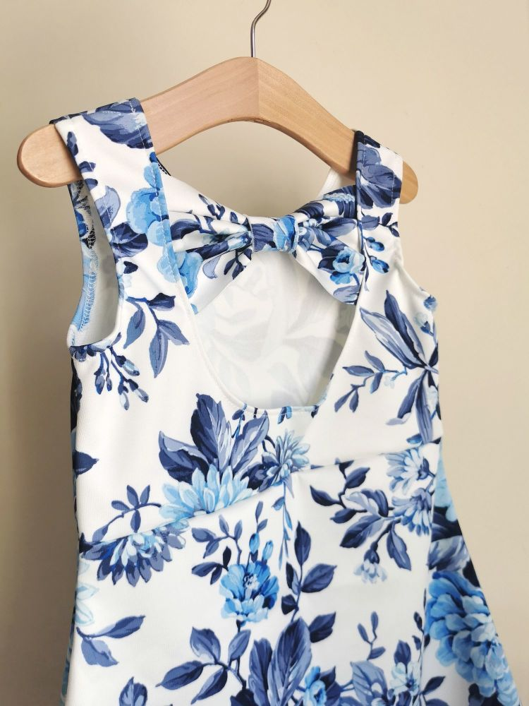 BOW BACK DRESS - CHINA BLUE FLORAL