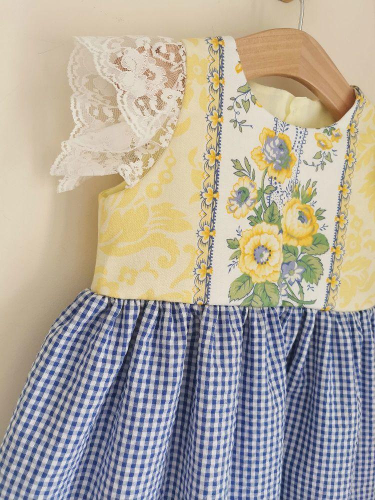 2/3YEARS - VINTAGE LEMON / GINGHAM SUMMER DRESS