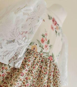 2/3YEARS -VINTAGE ROSE BUD LACE SLEEVE ANGELETTE DRESS