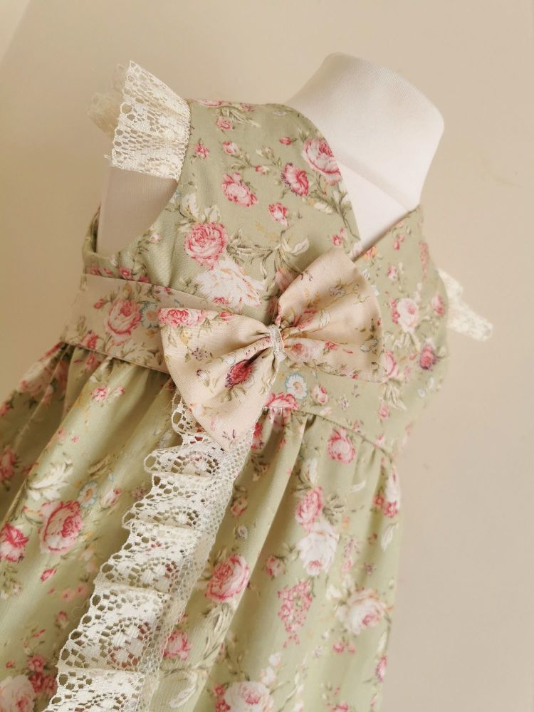 12/18MONTHS - ANTIQUE SAGE FLORAL HARLOWE WRAP DRESS