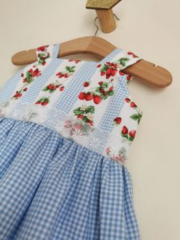 12/18MONTHS - STRAWBERRY GINGHAM SUN DRESS WITH BLOOMER PANTS