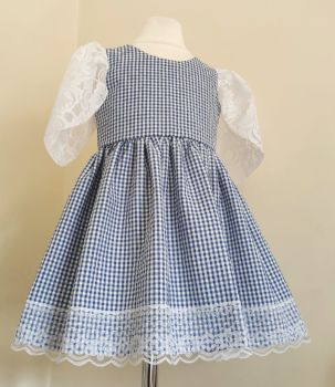 2/3YEARS - GINGHAM / LACE TULIP SLEEVE DRESS