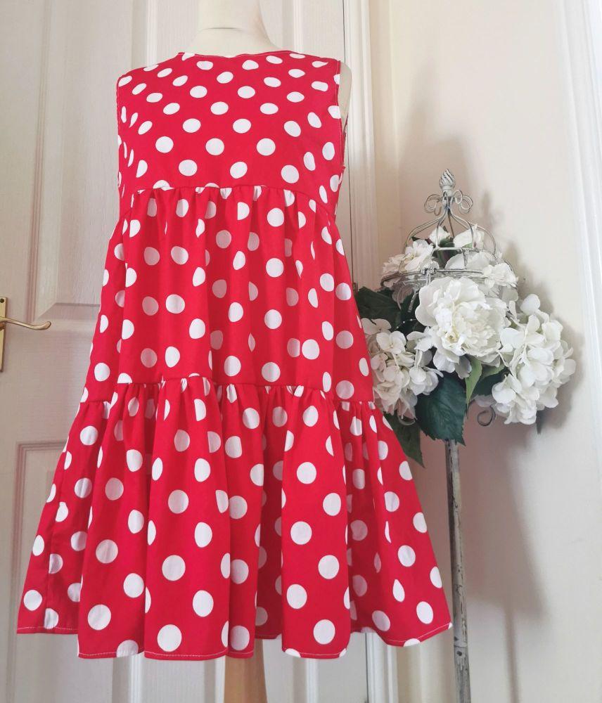 WOMENS (S) - SOFIA DRESS - POLKA RED
