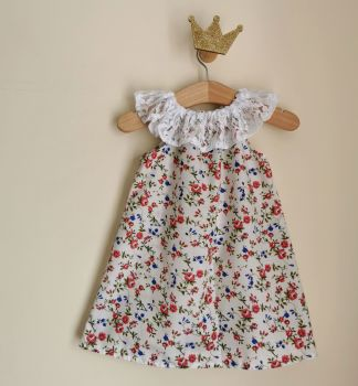 12/18M - RED DITSY FLORAL LACE DELILAH DRESS