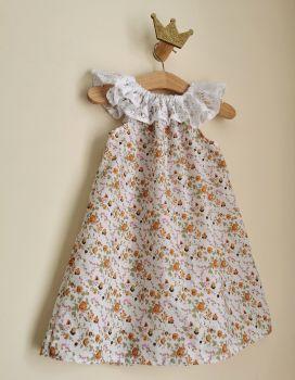 2/3 YEARS - ORANGE FLORAL LACE DELILAH DRESS