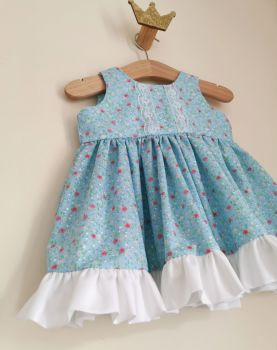 0/6MONTHS - AQUA DITSY FLORAL DRESS WITH BLOOMER PANTS