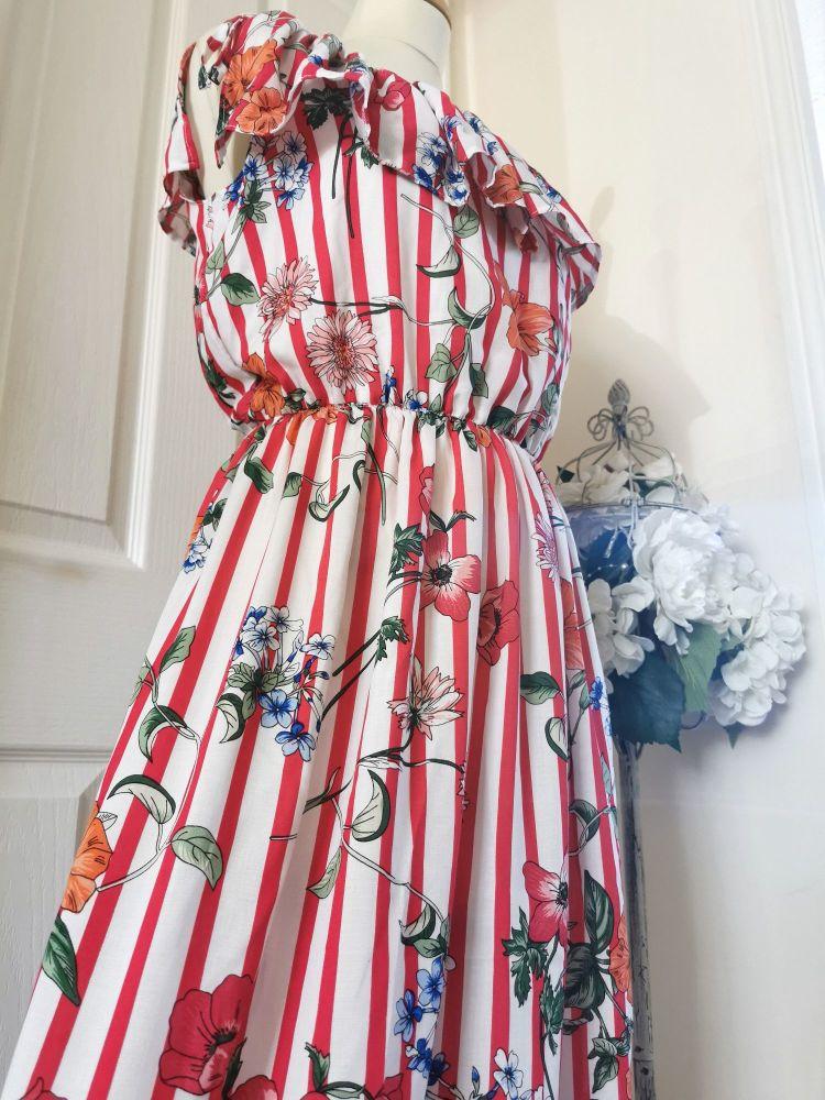 WOMENS (S) - MAXI FRILL DRESS - BOTANICAL STRIPE