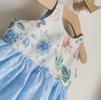 18/24MONTHS - BLUE DAZE PASTEL POLKA DOT SUN DRESS