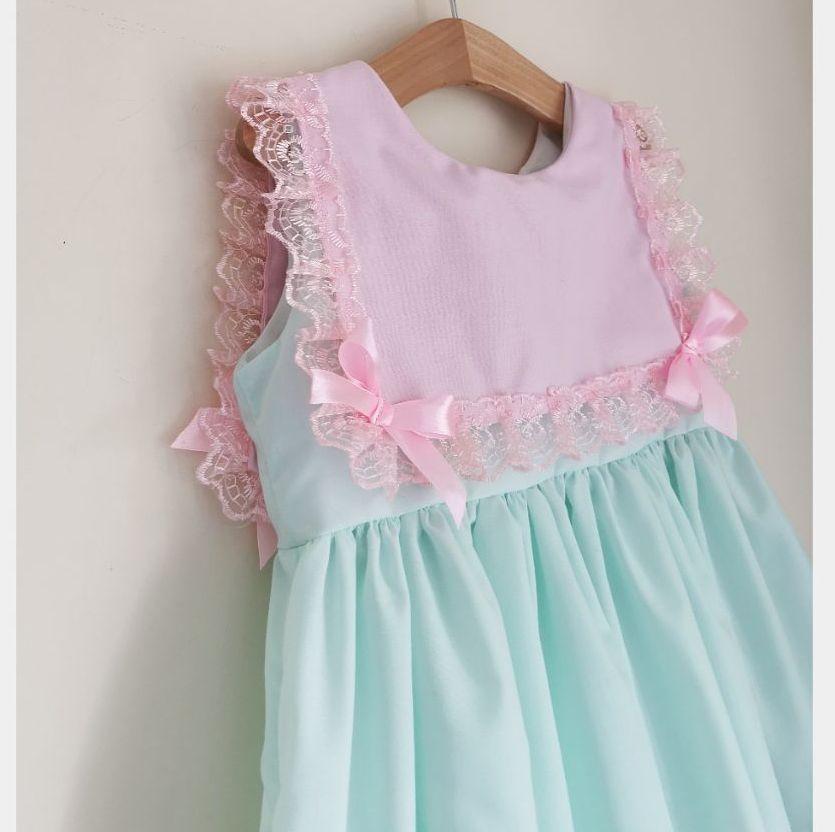IRIS DRESS - MINT & PINK LACE