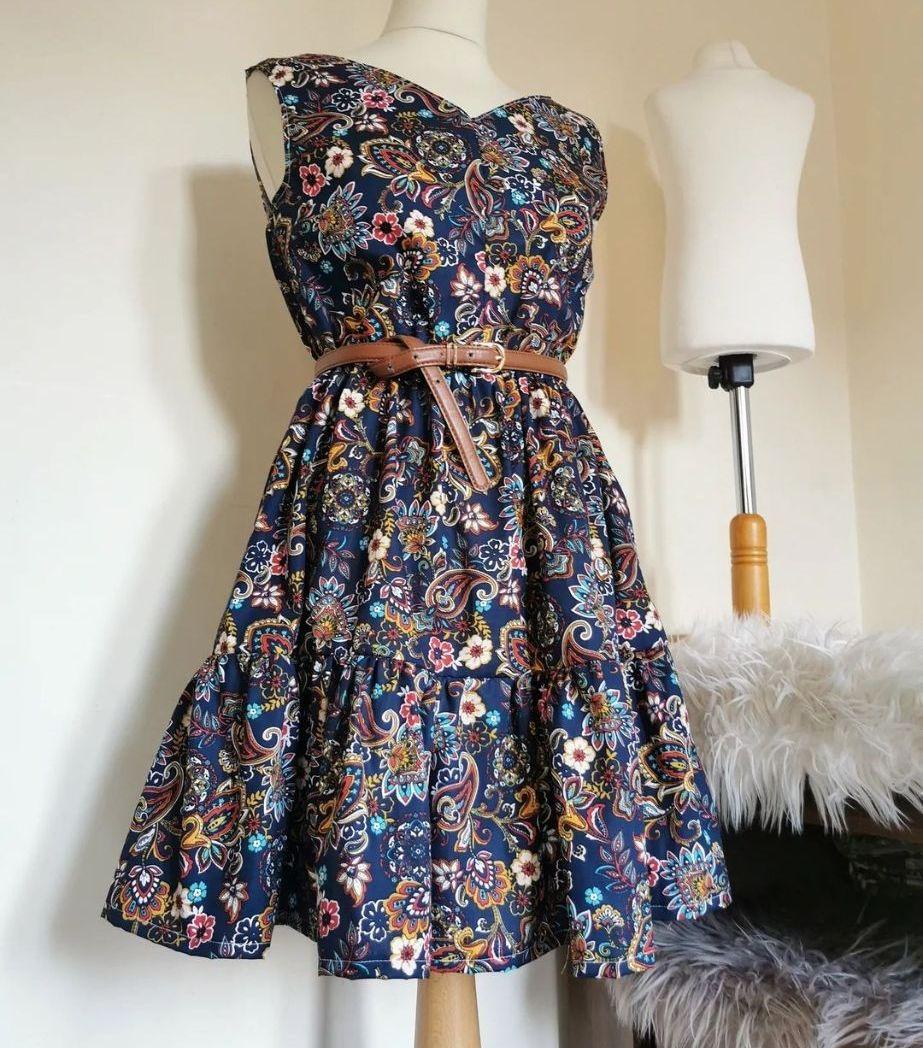 SOFIA TIERED DRESS - NAVY PAISLEY