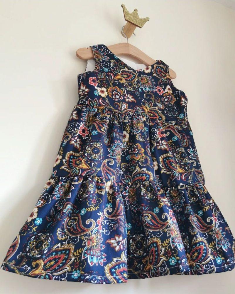 SOFIA TIERED DRESS - NAVY PAISLEY 9
