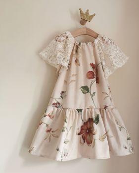 FLUTTER DRESS - VINTAGE VINES / CROCHET LACE