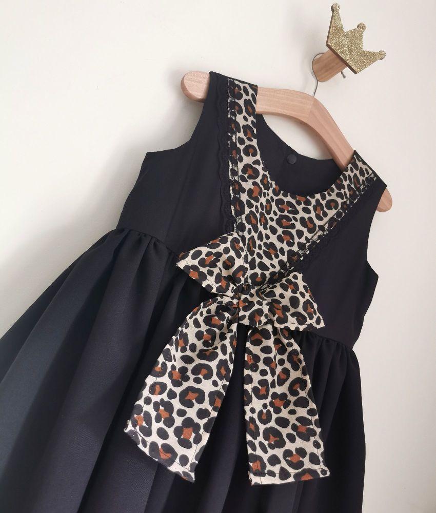 PANEL DRESS - BLACK LEOPARD
