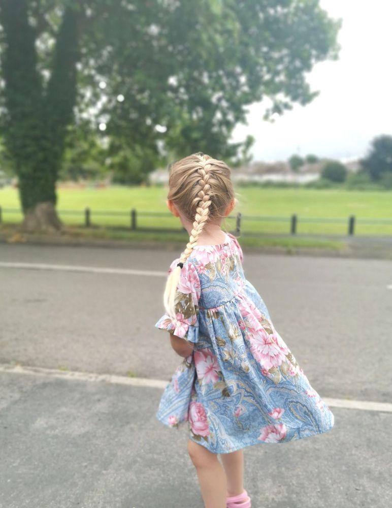 MARLOWE DRESS - BLUE FLORAL PAISLEY