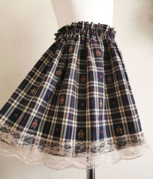 LACE SKIRT - TEDDY CHECK