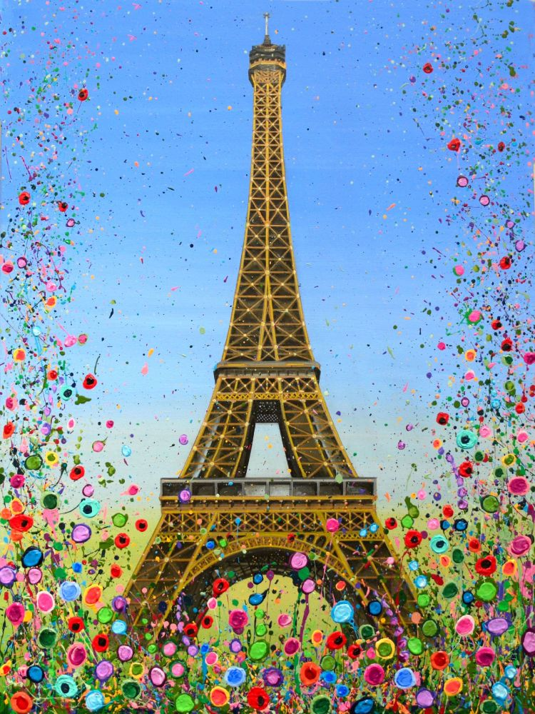 HAND EMBELLISHED CANVAS PRINT (60x40cm) - Eiffel Tower, Paris - 25 Editions