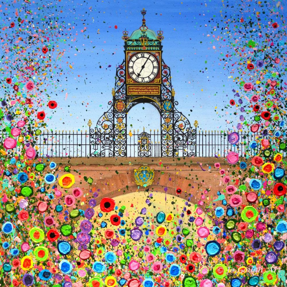 HAND EMBELLISHED CANVAS PRINT (60x60cm) - Chester's Eastgate Clock - 25 Edi