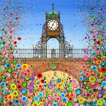 HAND EMBELLISHED CANVAS PRINT (60x60cm) - Chester's Eastgate Clock - 25 Editions