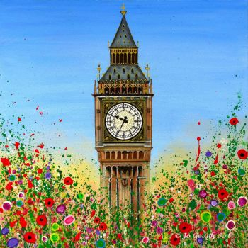 HAND EMBELLISHED CANVAS PRINT (80x80cm) - Big Ben, London - 25 Editions