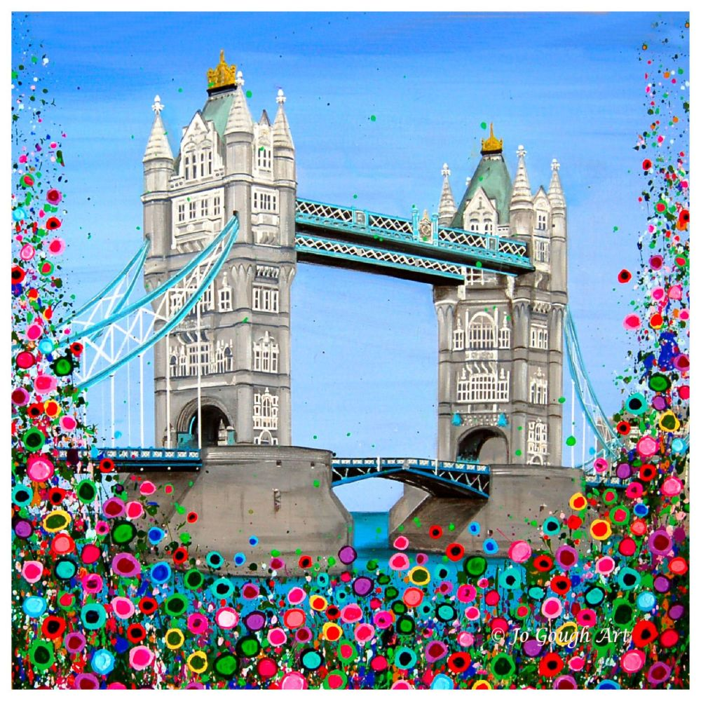 HAND EMBELLISHED CANVAS PRINT (60x60cm) - Tower Bridge, London - 25 Edition