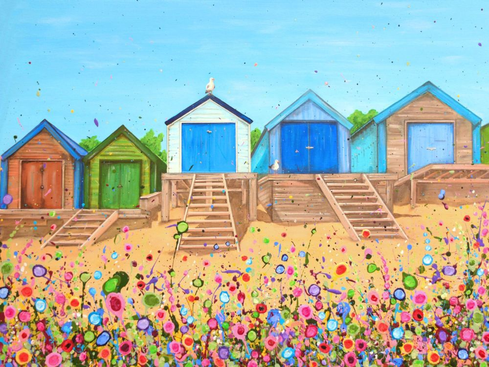 ORIGINAL ART WORK (80x60cm) - Abersoch Beach Huts, North Wales