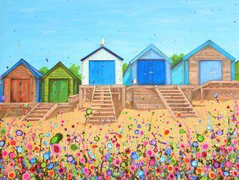 ORIGINAL ART WORK (80x60cm) - Abersoch Beach Huts, North Wales