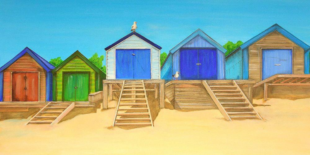 CANVAS PRINT (60x30cm) - Abersoch Beach Huts (PLAIN) - 45 Editions