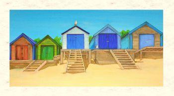 FINE ART GICLEE PRINT (60x30cm) - Abersoch Beach Huts (PLAIN) - 50 Editions