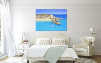 "CANVAS PRINT  - ""St Ives Harbour "" (PLAIN) From £55"