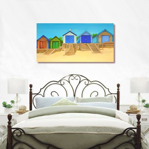 CANVAS PRINT (60x30cm) - Abersoch Beach Huts (PLAIN) - 45 Editions
