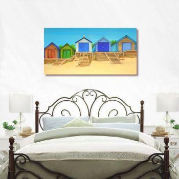 CANVAS PRINT (80x40cm) - Abersoch Beach Huts (PLAIN) - 45 Editions