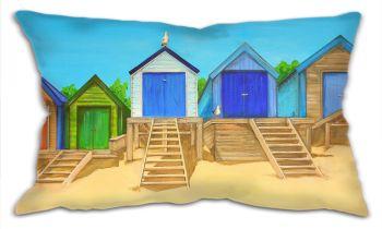 """CUSHION - """"Abersoch Beach Huts (PLAIN)"""""""