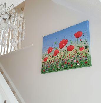 "ORIGINAL ART WORK (80x60cm) - ""Dancing Poppies"""