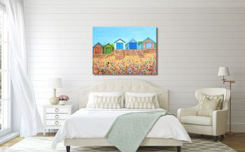 """CANVAS PRINT  - """"Abersoch Beach Huts, North Wales"""" From £55"""
