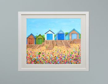 """DUO FRAMED PRINT - """"Abersoch Beach Huts"""" FROM £185"""