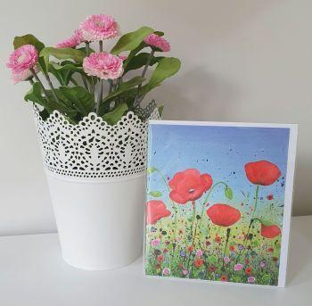 "GREETING CARD - ""Dancing Poppies"""