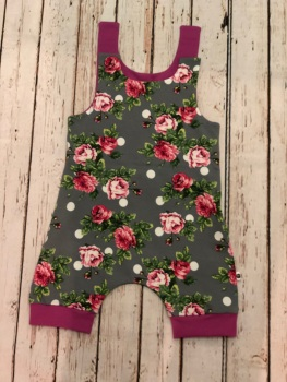 Floral and dots shortie romper