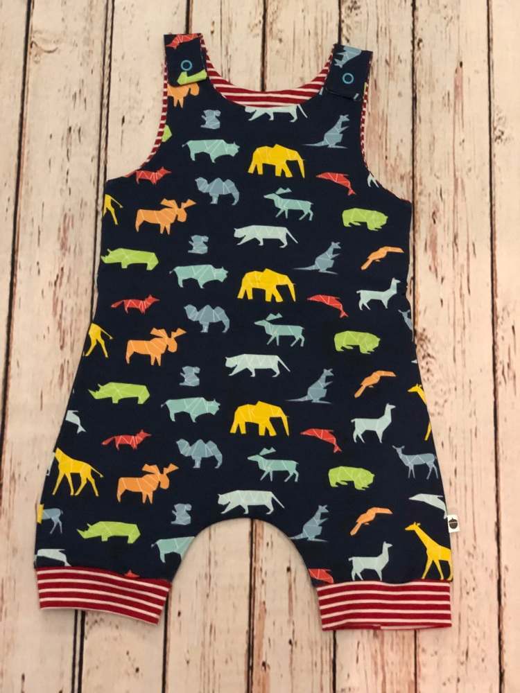 Navy geo animals shortie romper