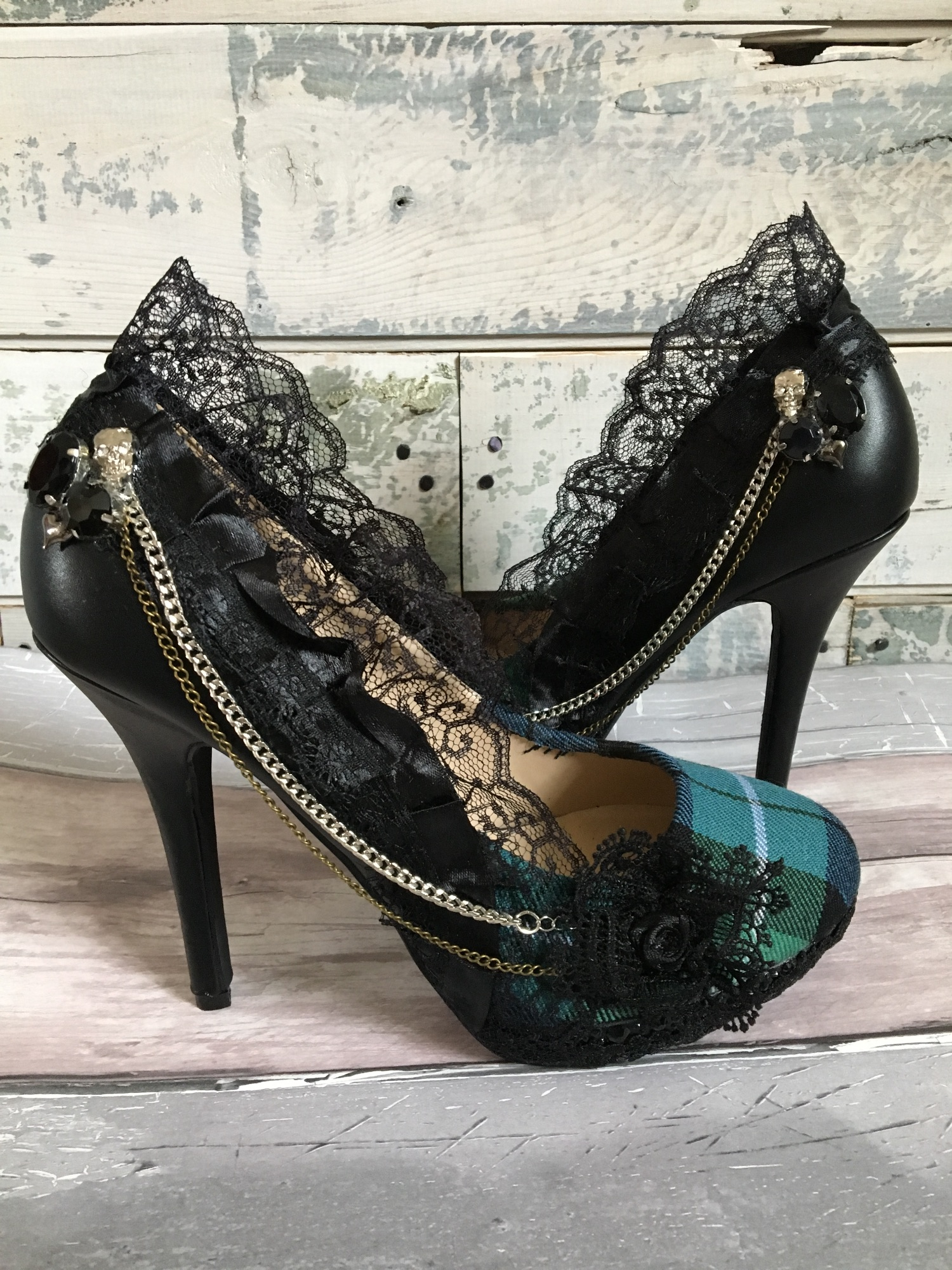 Alternative custom wedding shoes by Lace and Love. Tartan shoes mixed with Lace for a gothic tartan look.