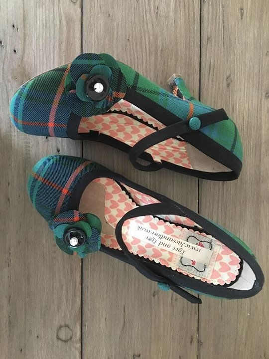 Customised tartan shoes with tartan flowers by Lace and Love