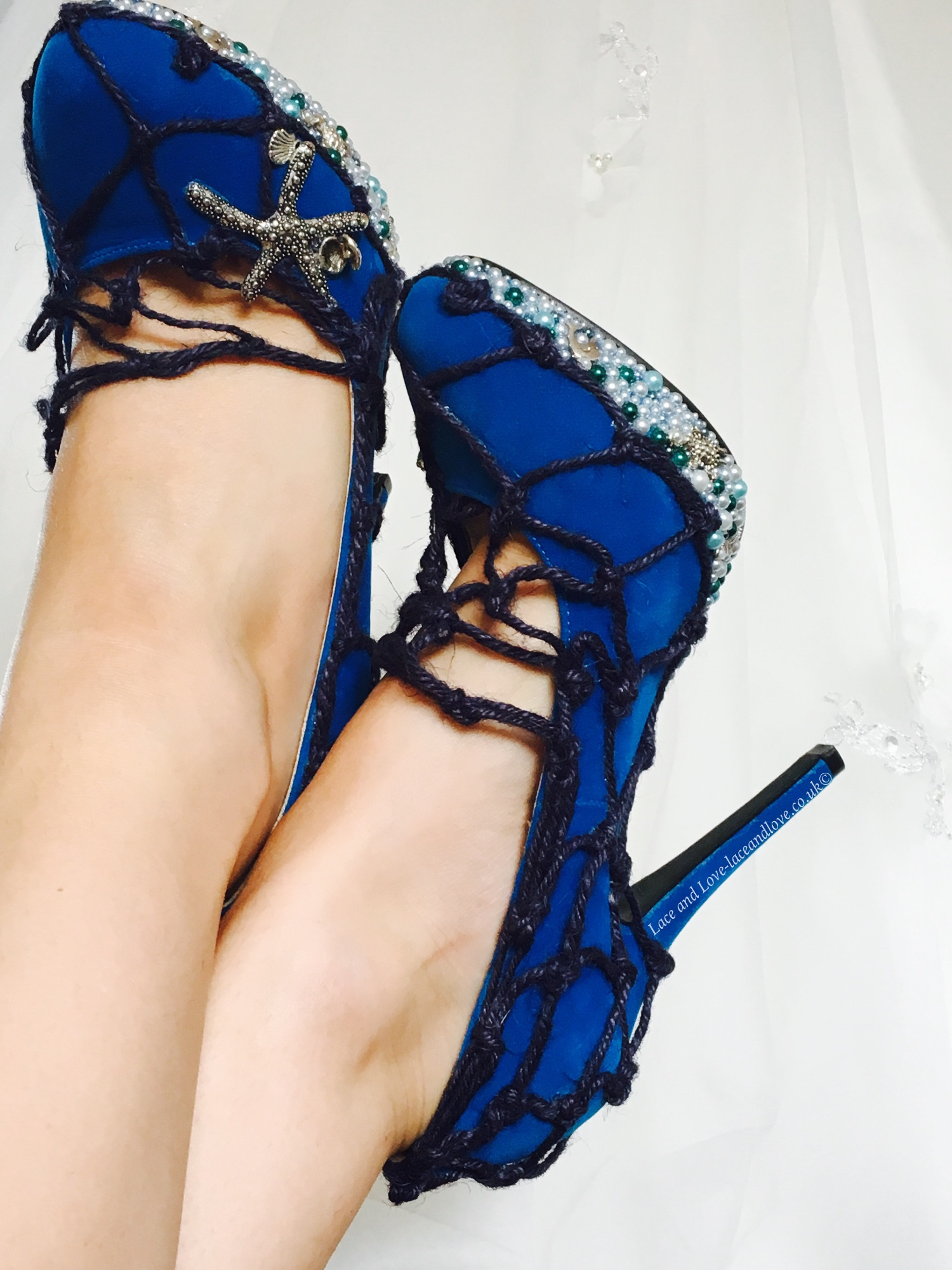 Unique shoes. Blue shoes with pearl detail from Lace and Love