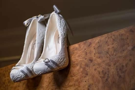 Design your own wedding shoes with Lace and Love. lace covered shoes with grey detailing.