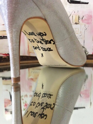 Personalised soles for wedding shoes. Shoe decals by Lace and Love