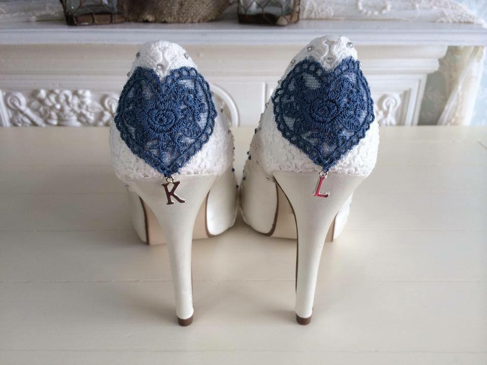 lace and Love customised wedding shoes personalised with initials.