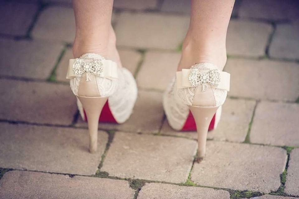 Custom wedding shoes with lace and diamantes